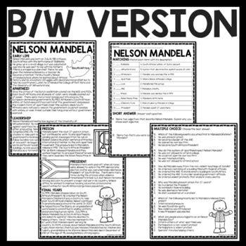 Nelson Mandela Reading Comprehension Worksheet Apartheid ...