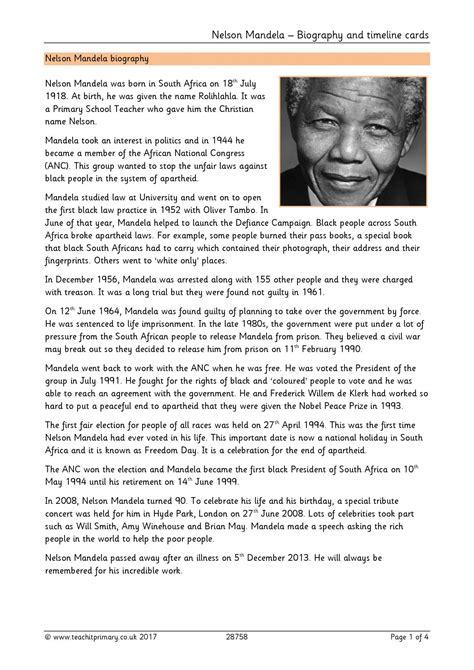 Nelson Mandela – Biography and timeline cards