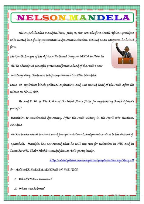 NELSON MANDELA S BIOGRAPHY FOR KIDS worksheet   Free ESL ...