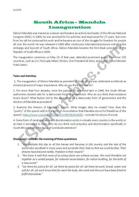 Nelson Mandela speech 1994   ESL worksheet by Lea.MG
