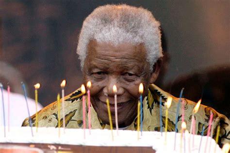 Nelson Mandela with a 90th birthday cake   ABC News ...