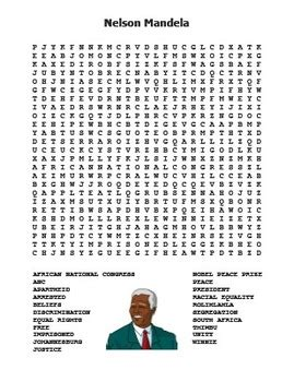 Nelson Mandela Word Search by Rich Carlson s TPT Store | TpT