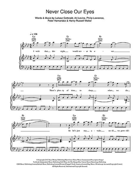 Never Close Our Eyes sheet music by Adam Lambert  Piano ...