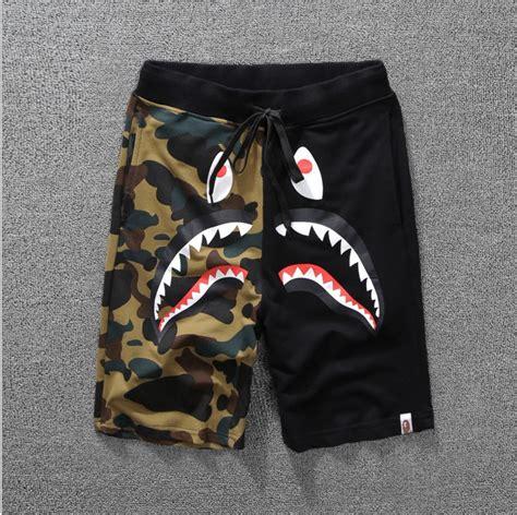 NEW A Bathing Ape Japan Men s Bape Shark Jaw Shorts Camo ...