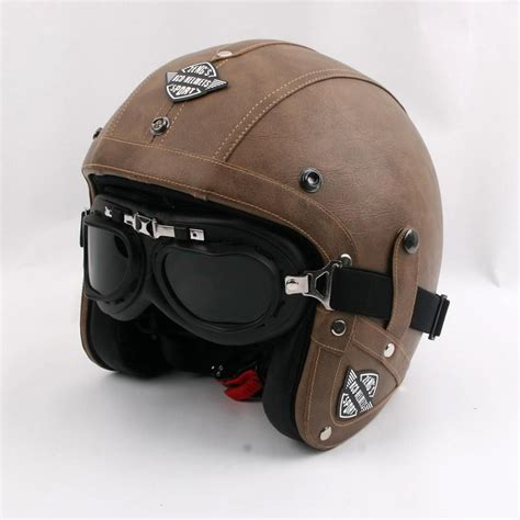 New Brand Kco Motorcycle Helmet Retro Pu Leather Open Face ...
