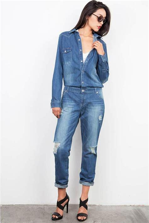New Women Denim Jumpsuit Romper Pants Jeans Long Sleeve ...