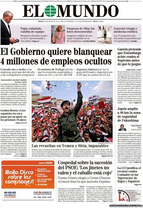 Newspaper El Mundo  Spain . Newspapers in Spain. Saturday ...