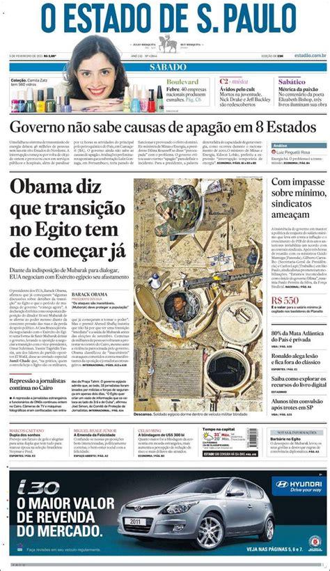 Newspaper O Estado de São Paulo  Brasil . Front pages from ...