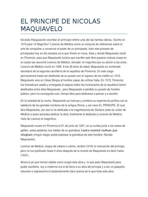 Nicolás Maquiavelo Escribe El Príncipe RESUMEN | Nicolás ...