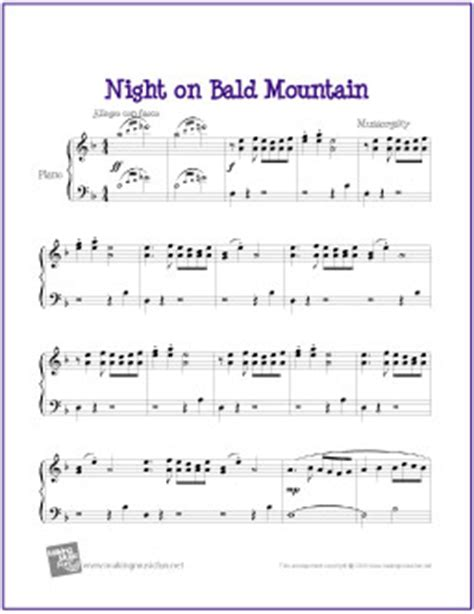 Night on Bald Mountain  Mussorgsky  | Free Easy Piano ...