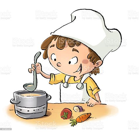 Niño Cocinando Stock Illustration   Download Image Now ...