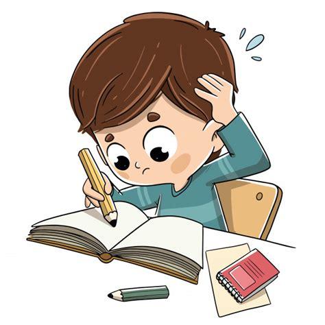 Niño estudiando con estrés y preocupado. | Vector Premium