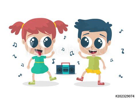 Niño y niña bailando: comprar este vector de stock y ...