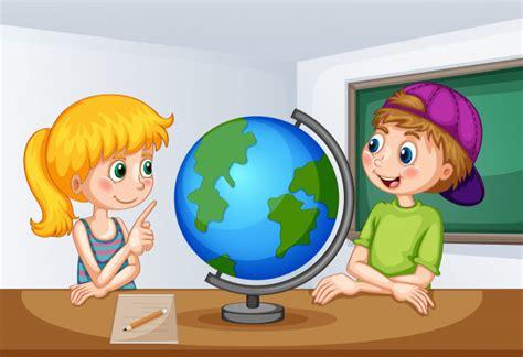 Niño y niña estudiando geografía | Vector Premium