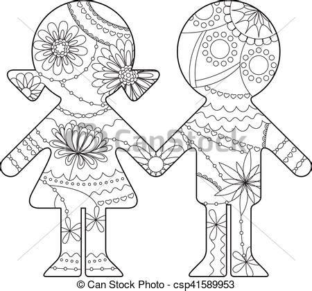 Niño y niña silueta simple pintado de color. Vector chico ...