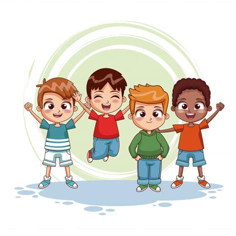 Niños felices dibujos animados de jumpin | Descargar ...