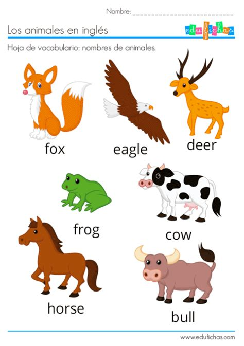 Nombres de los animales en inglés para enseñar a niños