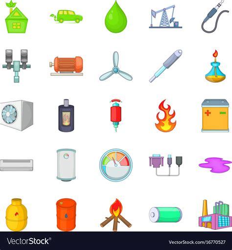 Nonrenewable energy icons set cartoon style Vector Image