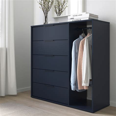NORDMELA Chest of drawers with clothes rail, black blue ...
