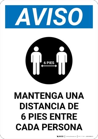 Notice: Please Maintain A Distance Of 6 Feet Spanish with ...