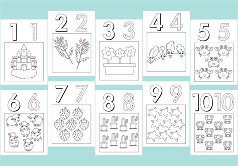 Numbers Coloring Pages   Download Free Vector Art, Stock ...