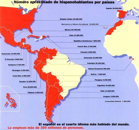Numbers of Spanish speakers in the world broken down by ...