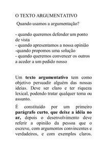 O TEXTO ARGUMENTATIVO   Português