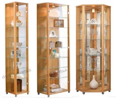 Oak Glass Display Cabinet Single Double Corner Display ...