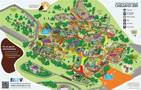 Oakland zoo map showing grade for guest with disabilities ...