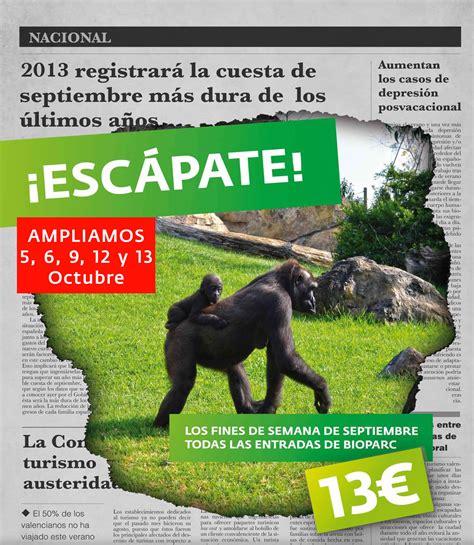 Oferta Bioparc Valencia para los días 5, 6, 7, 12 y 13 de ...