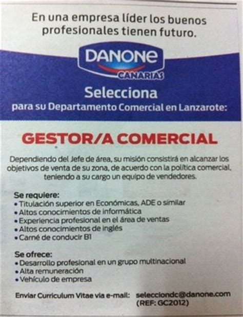 Oferta de empleo: Gestor/a Comercial para Lanzarote ...