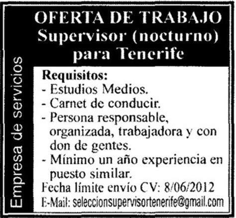 Oferta de empleo: Supervisor/a  nocturno  para Tenerife ...