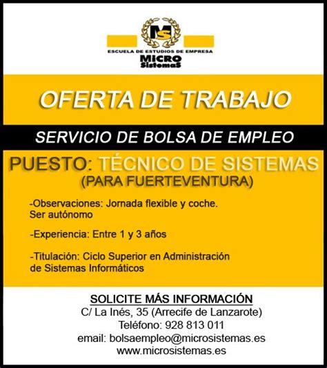 OFERTA DE EMPLEO: Técnicos de sistemas para las islas de ...