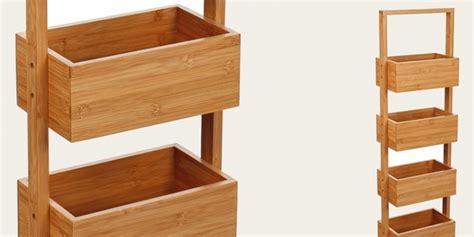 Oferta práctico mueble de bambú con 4 estantes para baño ...