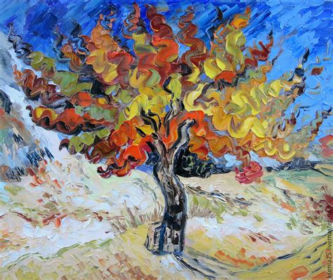 Oil painting on grounds. Vincent Van Gogh. Mulberry tree ...