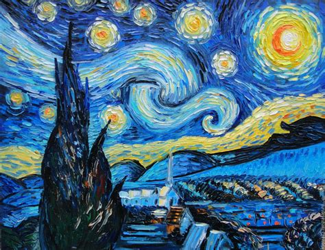 Oil painting with motives of Vincent van Gogh Starry night ...