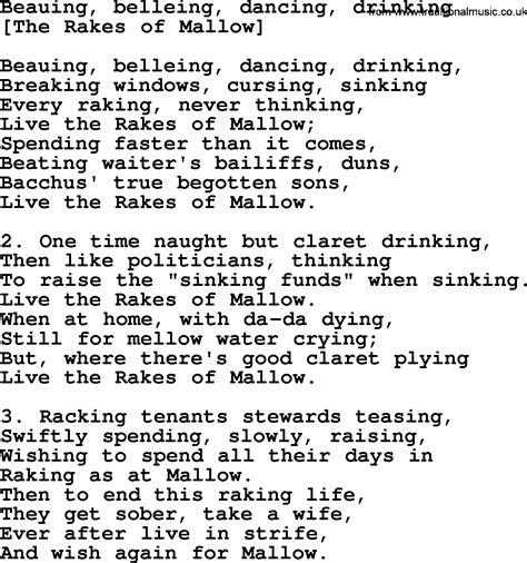 Old English Song Lyrics for Beauing, Belleing, Dancing ...