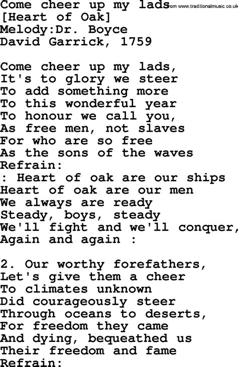 Old English Song Lyrics for Come Cheer Up My Lads, with PDF