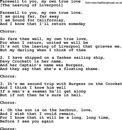 Old English Song Lyrics for Farewell To You, My Own True ...