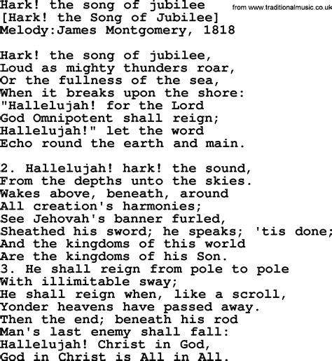 Old English Song Lyrics for Hark! The Song Of Jubilee ...