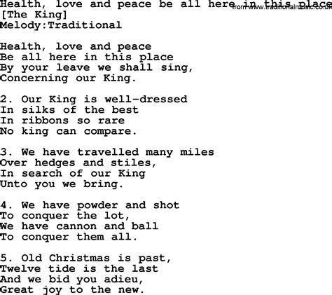 Old English Song Lyrics for Health, Love And Peace Be All ...