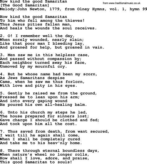 Old English Song Lyrics for How Kind The Good Samaritan ...