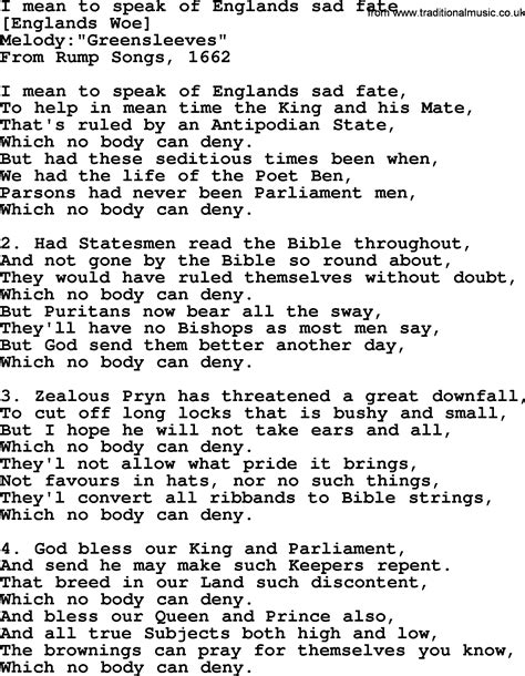Old English Song Lyrics for I Mean To Speak Of Englands ...