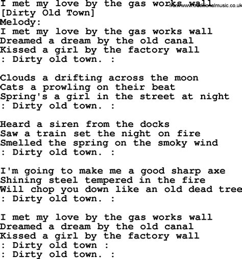 Old English Song Lyrics for I Met My Love By The Gas Works ...