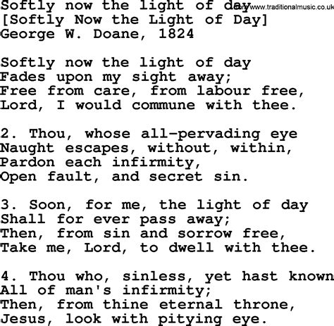 Old English Song Lyrics for Softly Now The Light Of Day ...