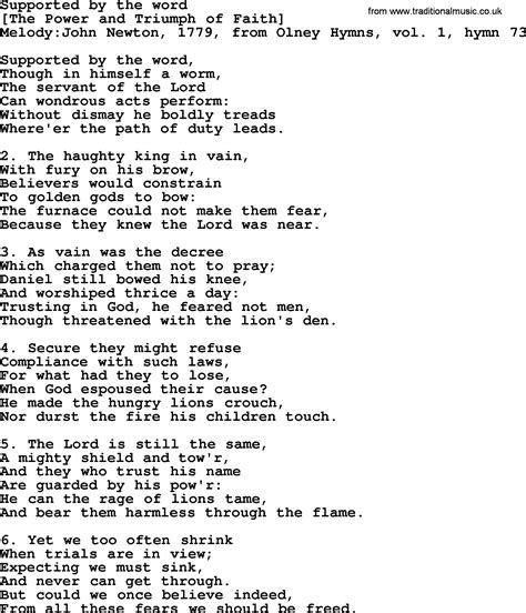 Old English Song Lyrics for Supported By The Word, with PDF