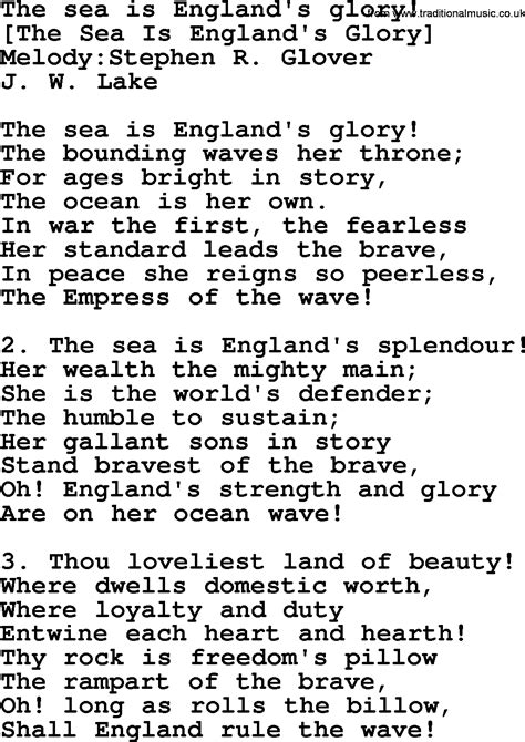 Old English Song Lyrics for The Sea Is England s Glory ...