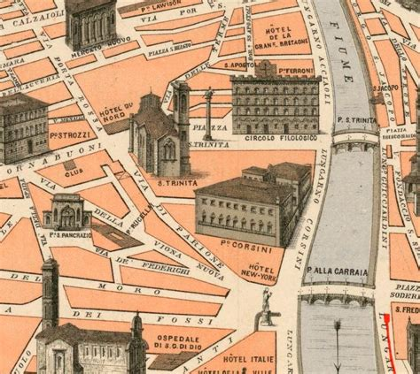 Old Map of Florence Firenze Monumentale 1910   VINTAGE ...