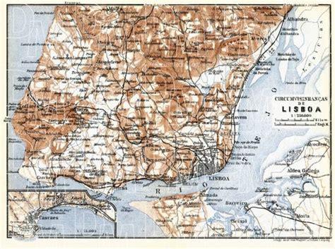 Old map of Lisbon  Lisboa  vicinity in 1913. Buy vintage ...
