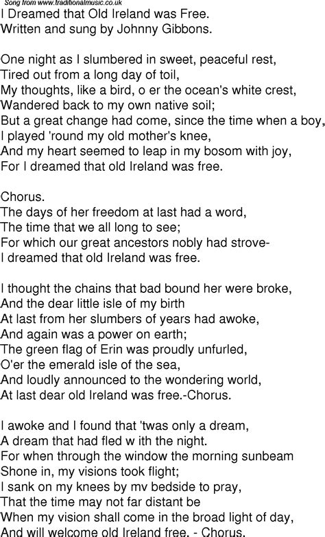 Old Time Song Lyrics for 08 I Dreamed That Old Ireland Was ...